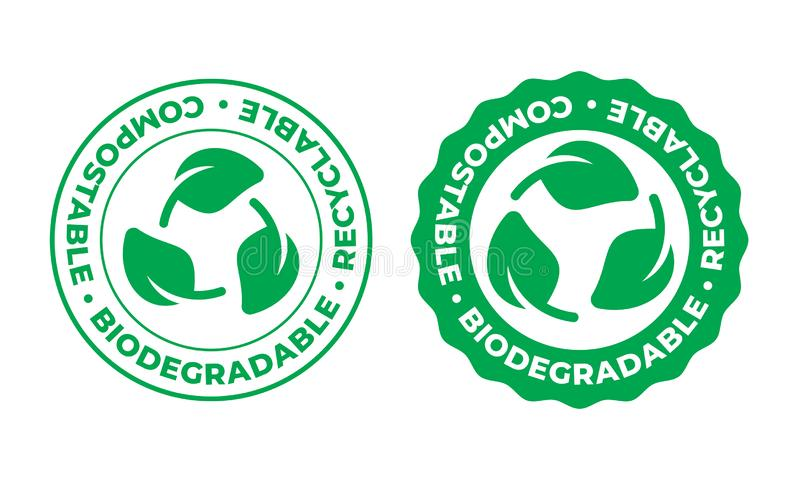 Biodegradable, compostable recyclable vector icon. Bio recyclable eco friendly package green leaf stamp logo stock illustration