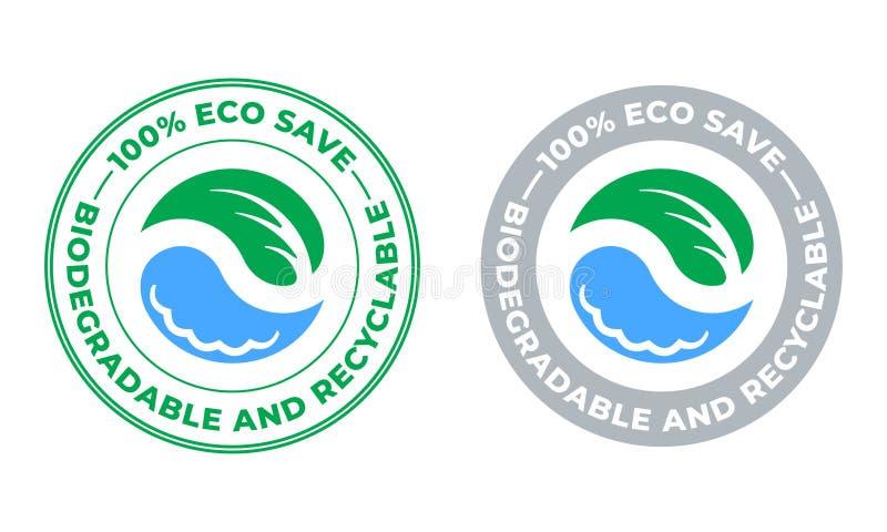 Biodegradable i recyclable wektorowa ikona Eco oprócz życiorys pakunku, zielony liść, wody kropla, i stemplujemy royalty ilustracja