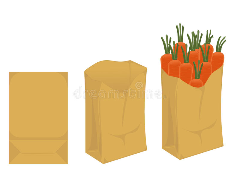 Biodegradable package. Point-of-use of the paper bag for the products. the brown package. folded, opened, full. mockup stock illustration