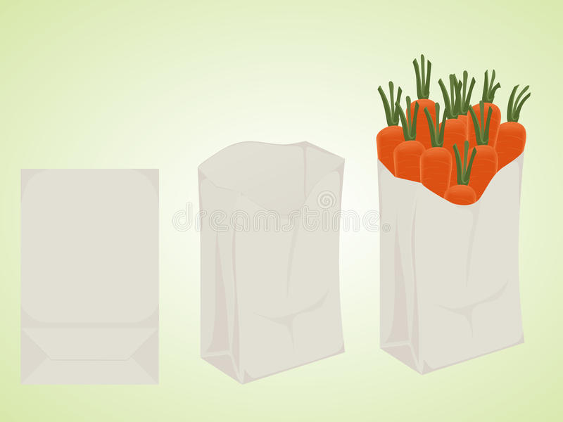 Biodegradable package. Point-of-use of the paper bag for the products. the white package. folded, opened, full. mockup stock illustration