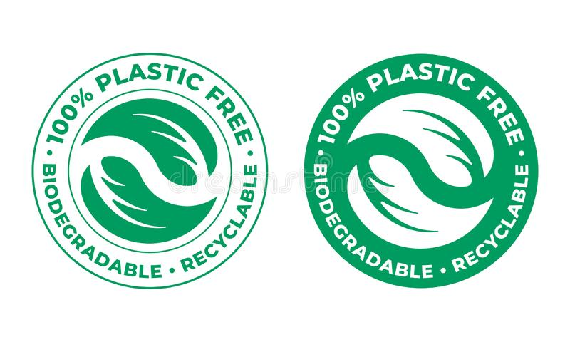 Biodegradable, plastic free recyclable vector icon. 100 percent bio recyclable package green logo. Biodegradable, plastic free recyclable vector icon. 100 vector illustration