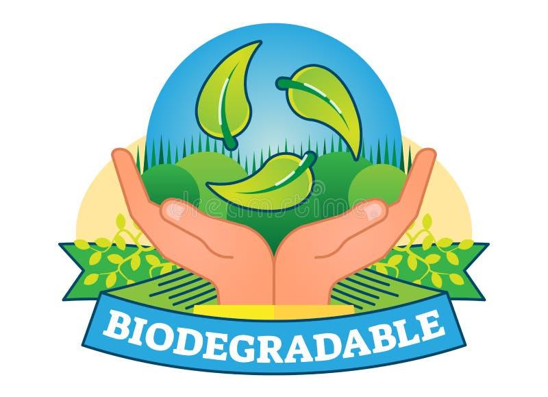 Biodegradable pojęcia odznaki wektorowa ilustracja royalty ilustracja