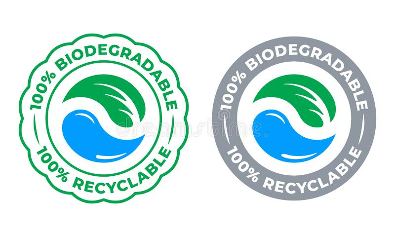Biodegradable recyclable 100 percent label vector icon. Eco save bio recyclable and degradable packaging green logo. Biodegradable recyclable 100 percent label vector illustration