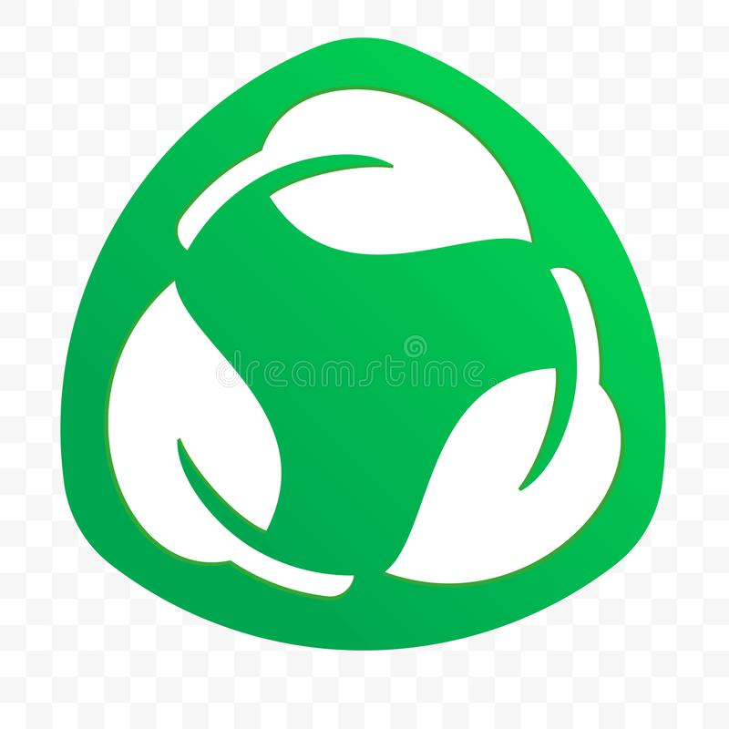 Biodegradable recyclable plastic free package label vector icon. Eco safe bio recyclable and degradable packaging logo. Template stock illustration