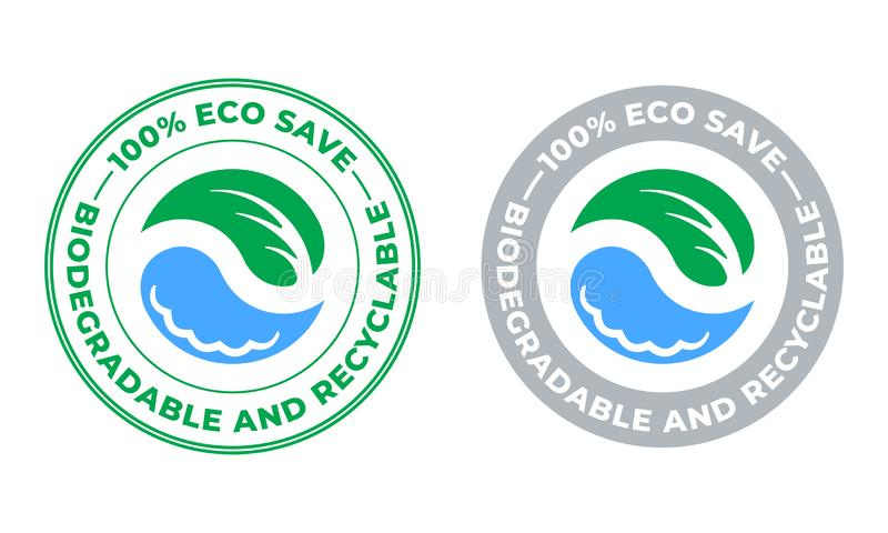 Biodegradable and recyclable vector icon. Eco save bio recyclable and degradable package, green leaf and water drop stamp. Logo royalty free illustration