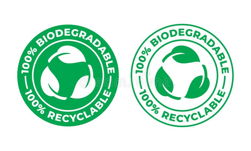Biodegradable recyclable vector icon. 100 percent bio recyclable and degradable package logo. Biodegradable recyclable vector icon. 100 percent bio recyclable royalty free illustration