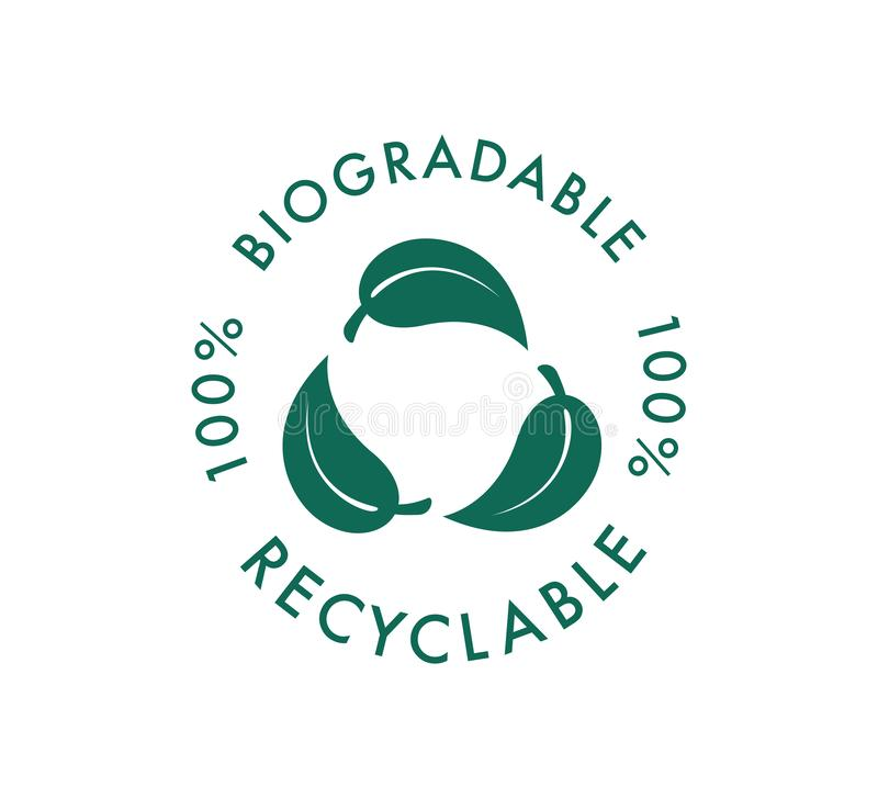 Biodegradable recyclable vector icon. 100 percent bio recyclable and degradable package packet logo. Biodegradable royalty free illustration