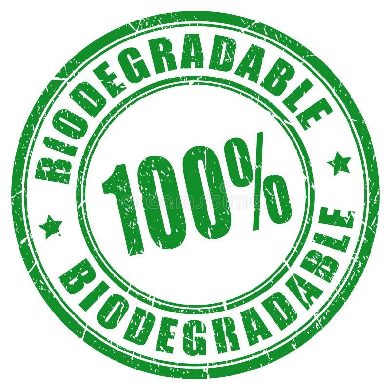100 biodegradable stamp. 100 biodegradable vector rubber stamp royalty free illustration