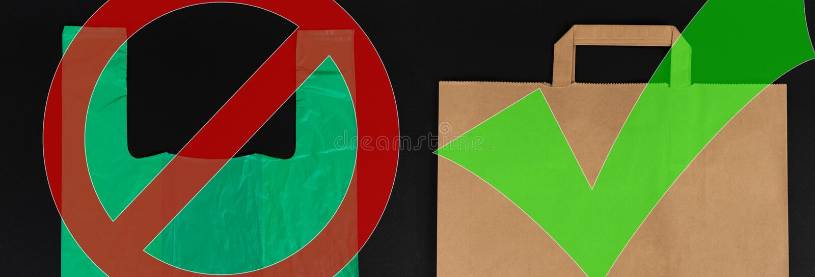 Biodegradable versus single use waste choice concept. With green plastic and brown paper bags isolated on black background vector illustration