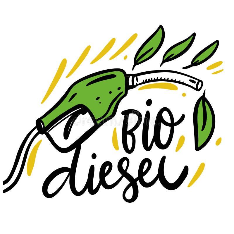 Biodieselhandgezogene Beschriftung Eco Abbildung Getrennt auf wei?em Hintergrund stock abbildung