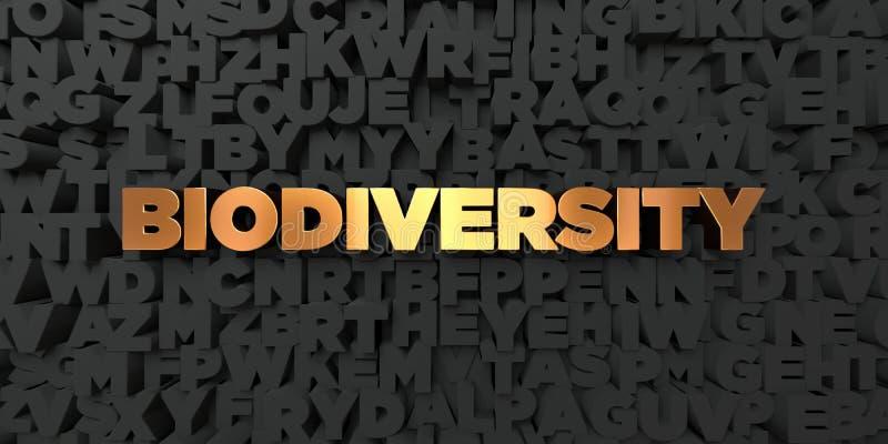 Biodiversidad - texto del oro en fondo negro - imagen común libre rendida 3D de los derechos ilustración del vector