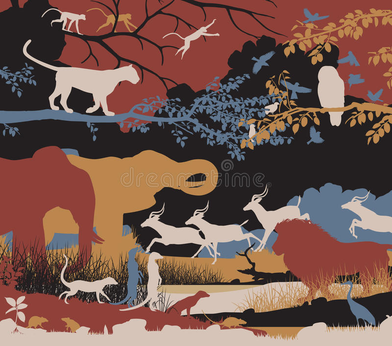 Biodiversity. Colorful editable vector illustration of wildlife diversity vector illustration