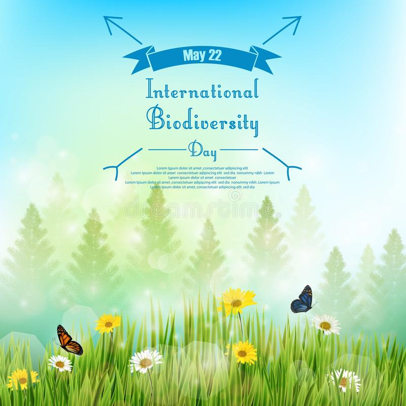 Biodiversity background with palm tree and flowers in grass on blue sky background vector illustration