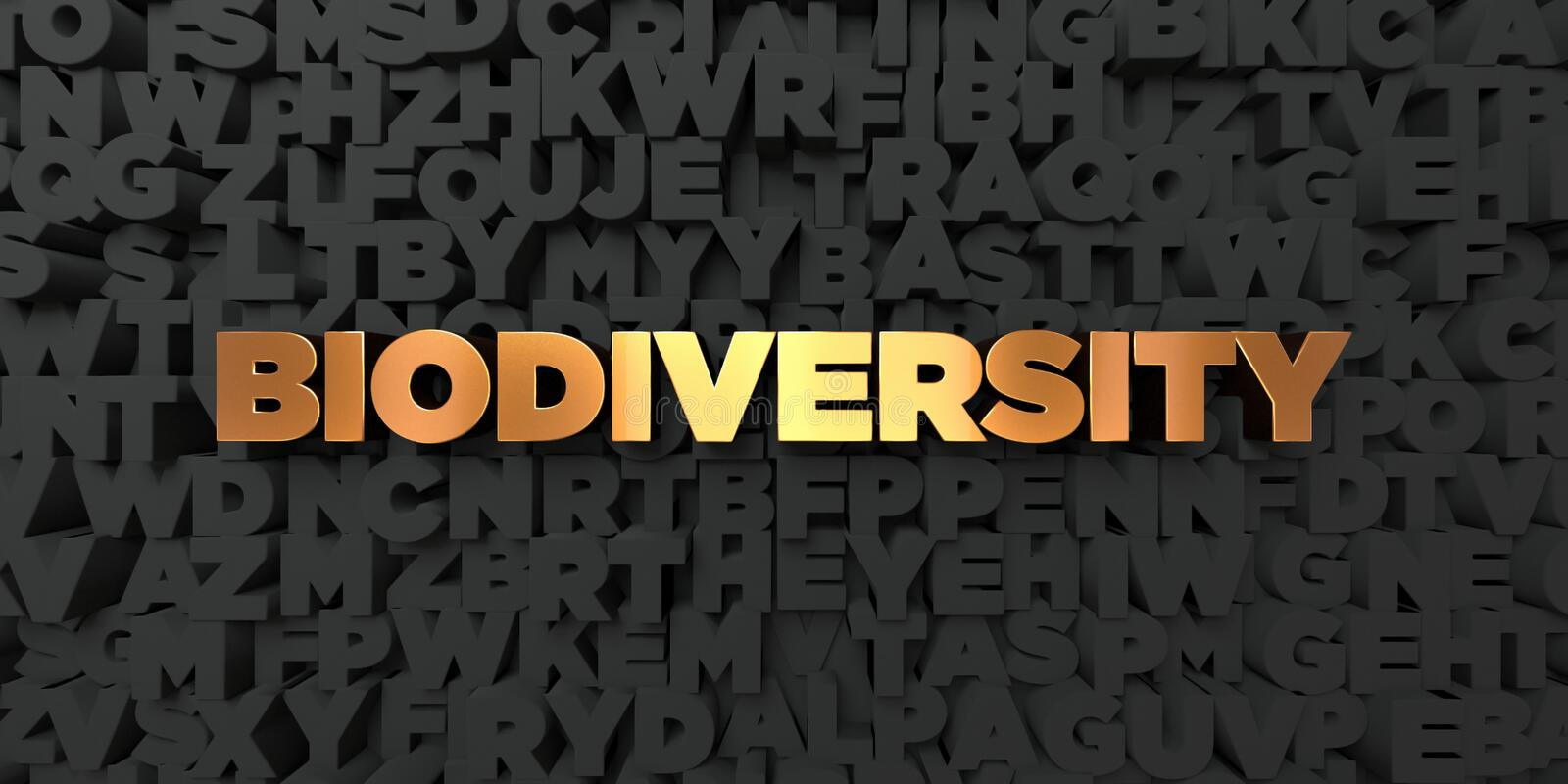 Biodiversity - Gold text on black background - 3D rendered royalty free stock picture vector illustration