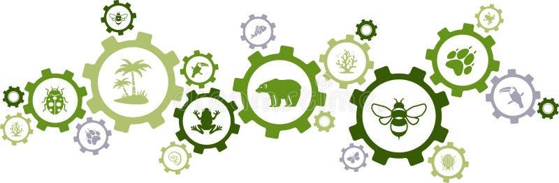 Biodiversity icon concept – endangered species & wildlife icons, vector illustration stock illustration