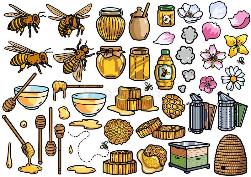 Biodlingutrustningillustrationen, klotter, skissar, teckningen, vektor vektor illustrationer