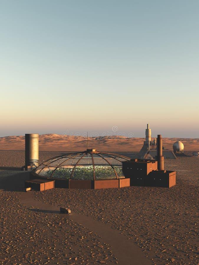 Biodome su un pianeta straniero del deserto royalty illustrazione gratis