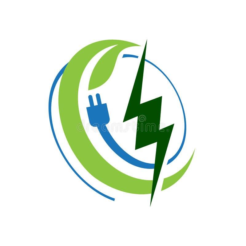 Bioenergy logo design vector eco friendly renewable icon symbol illustration. Alternative, global, tree, simple, modern, recycle, lightning, environmental stock illustration