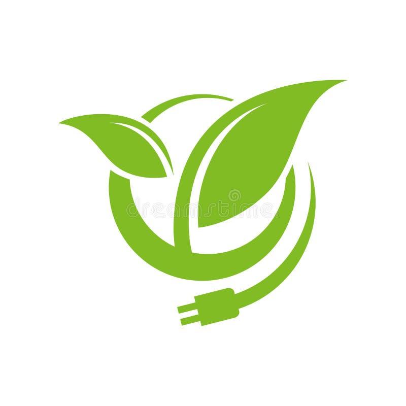 Bioenergy logo design vector eco friendly renewable icon symbol illustration. Alternative, global, tree, simple, modern, recycle, lightning, environmental royalty free illustration