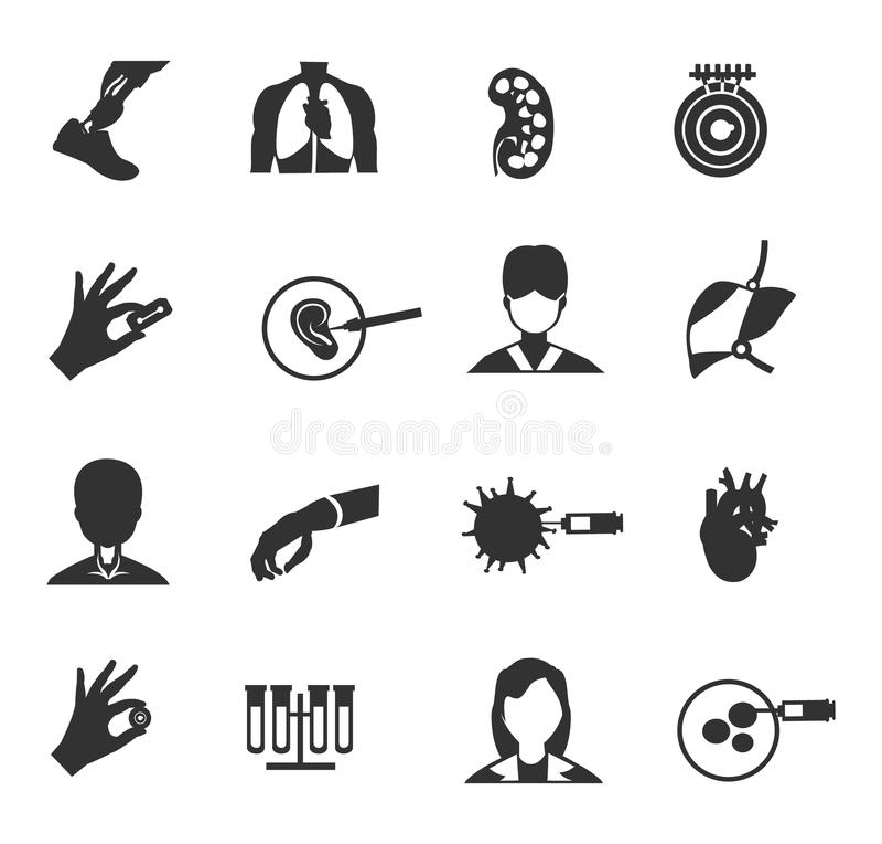 Bioengineering ikony set royalty ilustracja