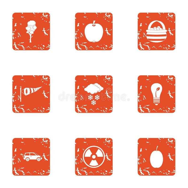 Bioengineering ikony ustawiać, grunge styl royalty ilustracja