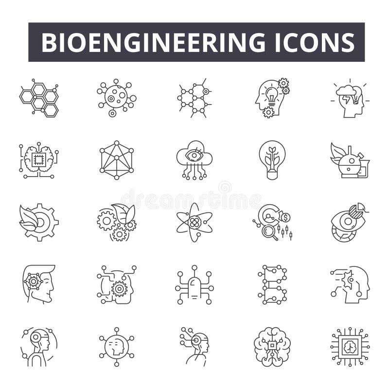 Bioengineering kreskowe ikony dla sieci i mobilnego projekta Editable uderzenie znaki Bioengineering konturu pojęcia ilustracje ilustracja wektor