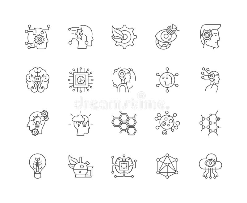 Bioengineering kreskowe ikony, znaki, wektoru set, kontur ilustracji pojęcie royalty ilustracja