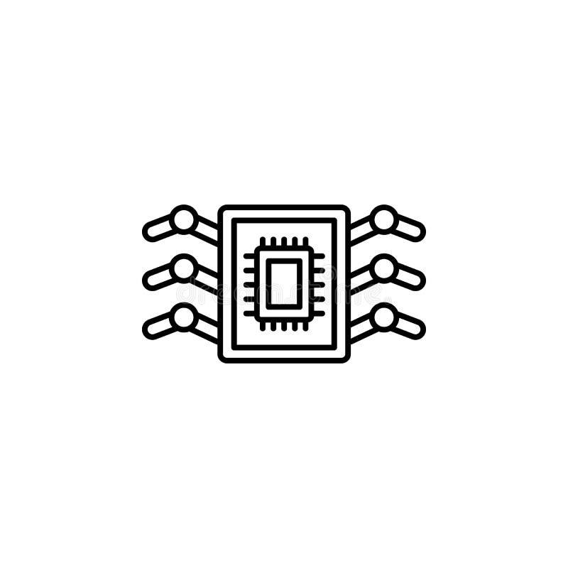 Bioengineering nanorobotics ikona Element sztucznej inteligenci ikona dla mobilnych pojęcia i sieci apps Cienieje kreskowego Bioe ilustracja wektor