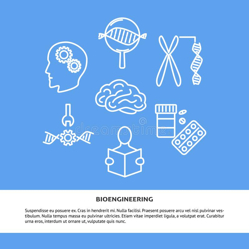 Bioengineering pojęcia sztandar w kreskowym stylu z miejscem dla teksta royalty ilustracja