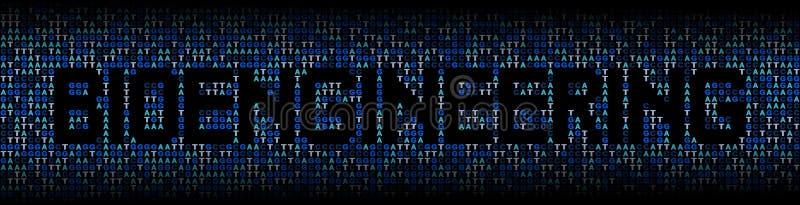 Bioengineering tekst na DNA genetycznego kodu tła ilustraci ilustracji