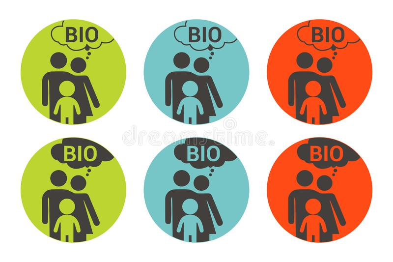 Biofamilie kleurrijke vectorsticker Organische etiketreeks vector illustratie