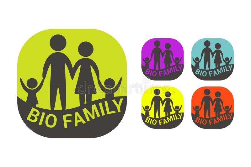 Biofamilie kleurrijke vectorsticker Organische etiketreeks stock illustratie