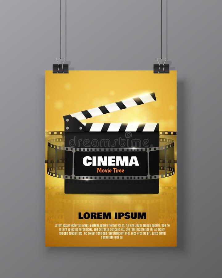 Biofestivalreklamblad eller affisch Vektorillustration av filmbransch vektor illustrationer