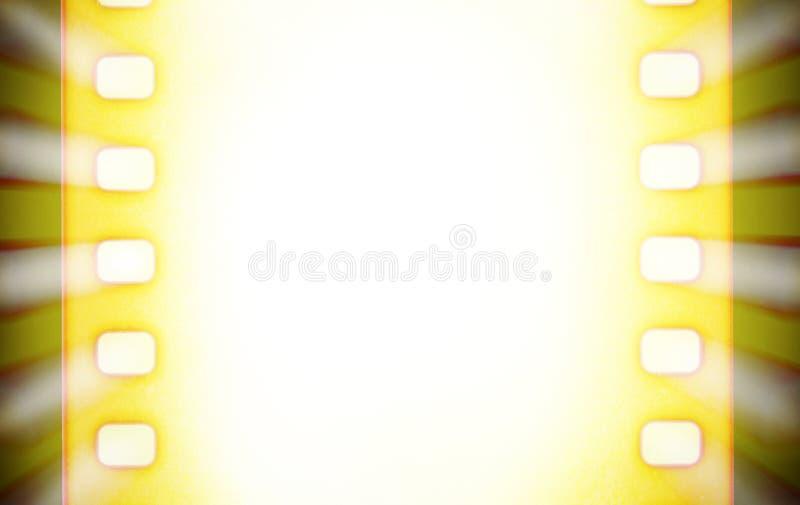 Biofilmremsor med och ljusa strålar för projektor Svart och guling royaltyfri illustrationer