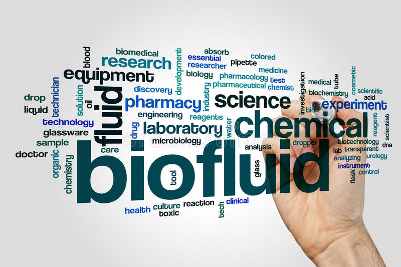 Biofluid word cloud. Concept on grey background stock photo