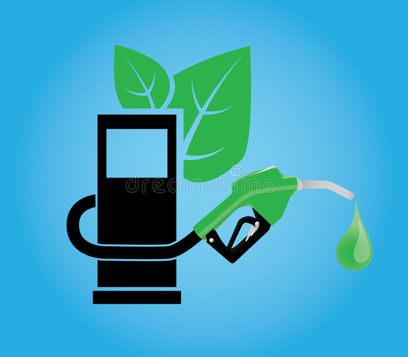 Biofuel concept with gasoline pump and green leaf stock illustration