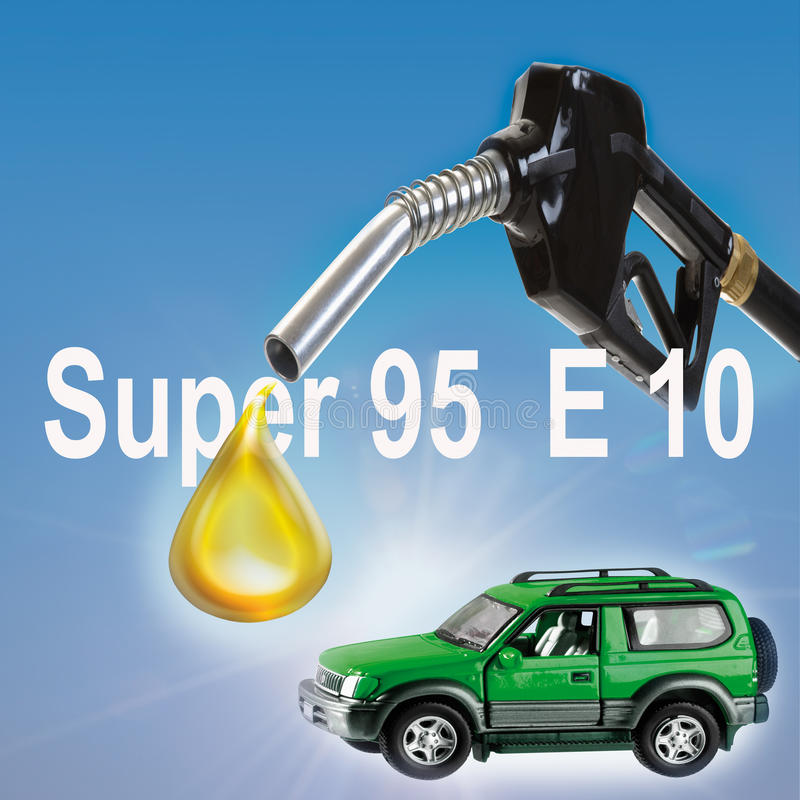 Biofuel drop falling from industrial hose and green car stock illustration