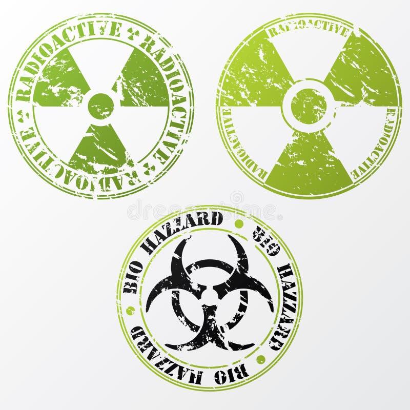 Biogefahr und radioaktives Stempelset vektor abbildung