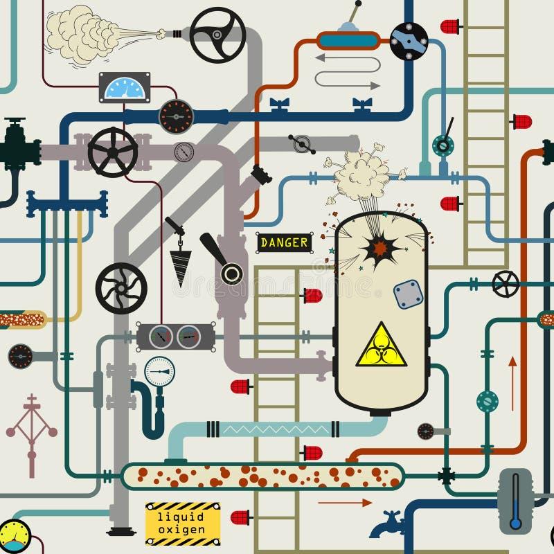 Biogevaargevaar Het systeem van de raffinaderijbuis vector illustratie