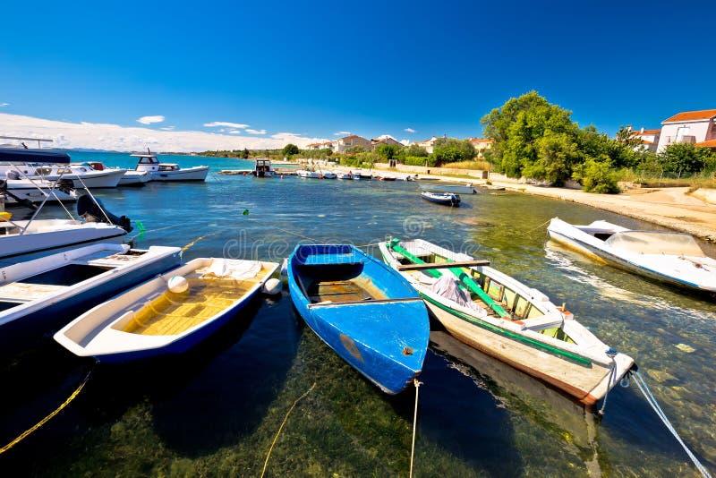 Biograd Na Moru海滩和港口视图 库存图片