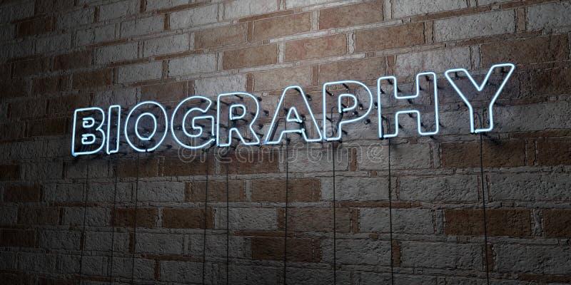 BIOGRAFÍA - Señal de neón que brilla intensamente en la pared de la cantería - 3D rindió el ejemplo común libre de los derechos libre illustration