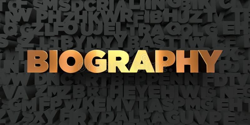 Biografía - texto del oro en fondo negro - imagen común libre rendida 3D de los derechos ilustración del vector