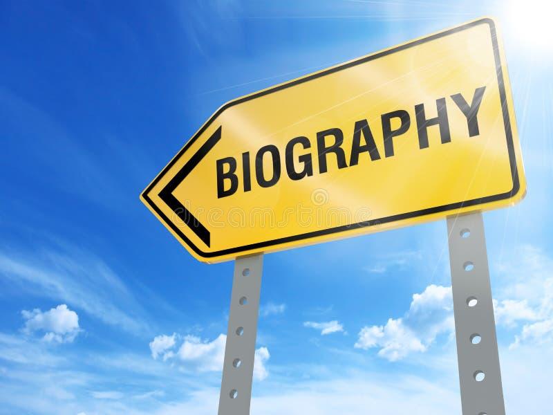Biography sign. On blue sky background,3d rendered royalty free illustration