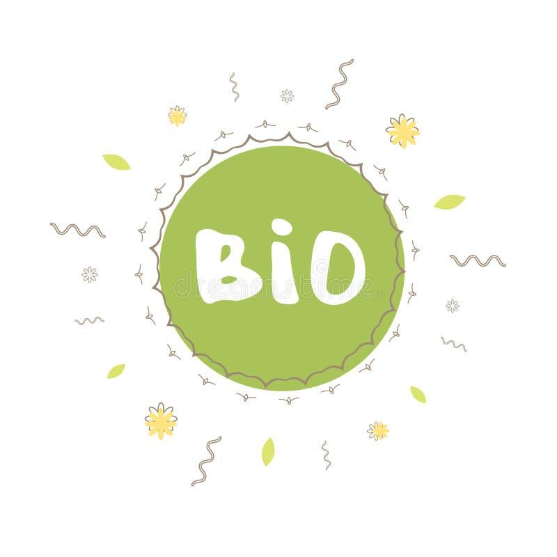 Biohand getrokken banner Vector illustratie stock illustratie