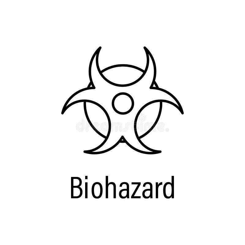 biohazard, ícone do esboço da energia com nome ilustração do vetor