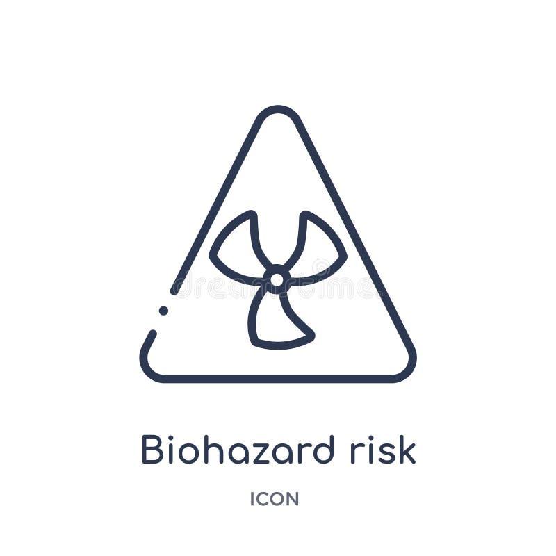 biohazard τριγωνικό εικονίδιο κινδύνου από τη συλλογή περιλήψεων σημαδιών Λεπτό τριγωνικό εικονίδιο κινδύνου γραμμών biohazard πο διανυσματική απεικόνιση