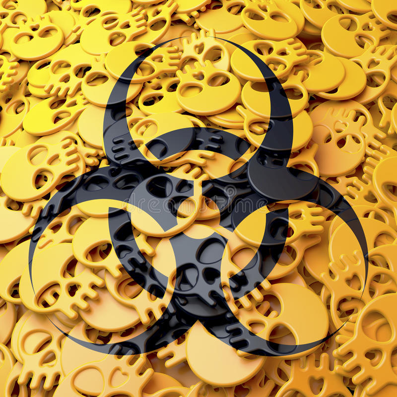Biohazard предупредительного знака, чернота, желтые черепа иллюстрация штока