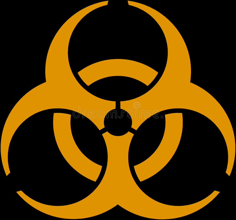 Biohazard. An orange emblem on a black background vector illustration