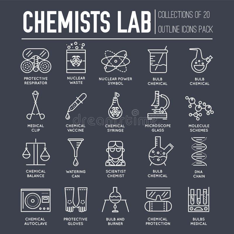 Biohazard chemicy w chemii lab cienieją kreskowej ilustraci pojęcia set Nauk ludzie z wyposażenie ikon konturu projektem scient ilustracja wektor