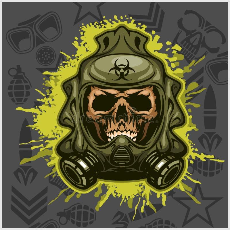 Biohazard - czaszki maska, wirusowa infekcja royalty ilustracja